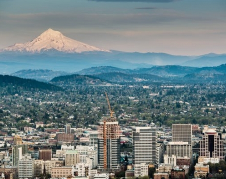 Buildings Portland Oregon Skyline Mt Hood 1 640x400